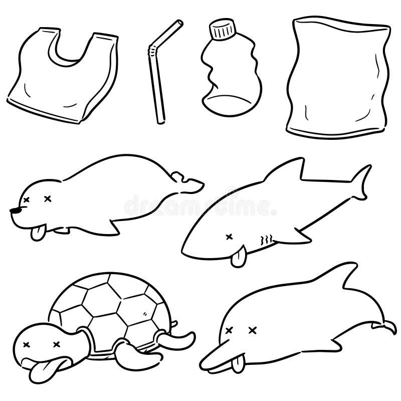 Ensemble de vecteur d'animal et en plastique aquatiques illustration libre de droits