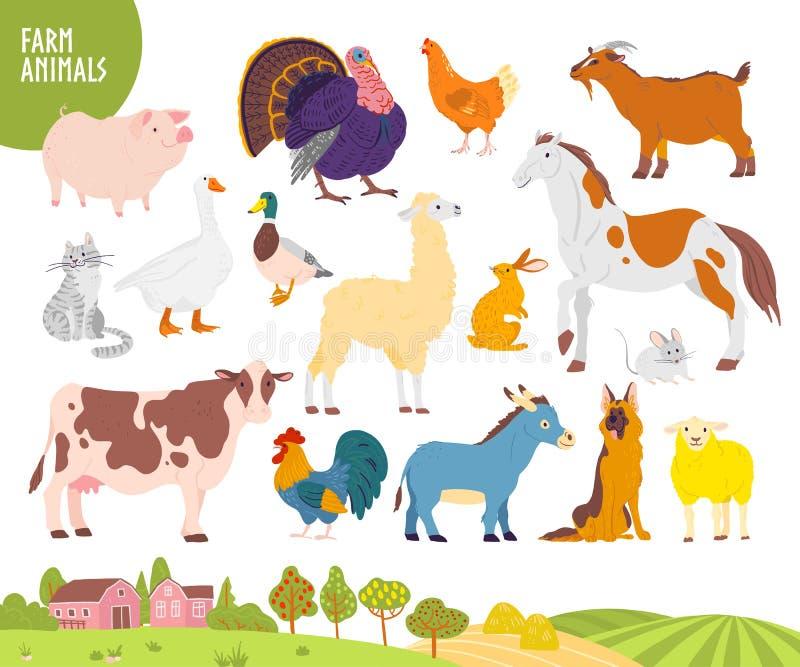 Ensemble de vecteur d'animal de ferme : porc, poulet, vache, cheval etc. avec le paysage confortable de village, maison, jardin,  illustration stock