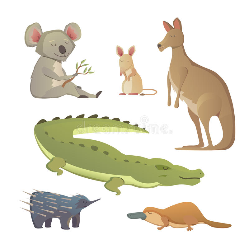 Ensemble de vecteur d'animaux australiens de bande dessinée d'isolement La faune de l'illustration d'Australie illustration libre de droits