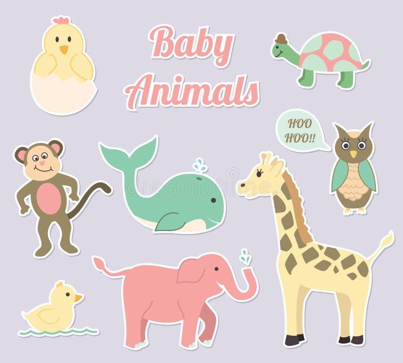 Ensemble de vecteur d'animaux de crèche de bébé illustration stock