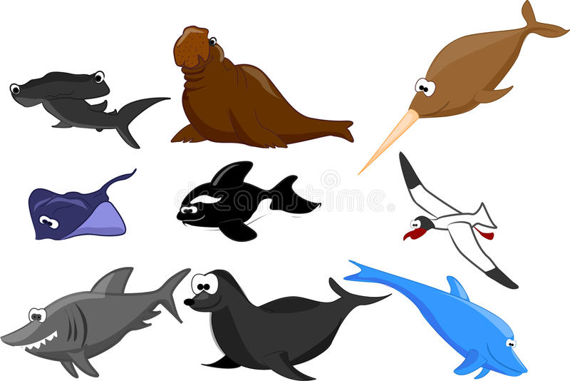 Ensemble de vecteur d'animaux marins illustration stock