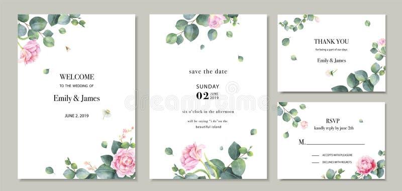 Ensemble de vecteur d'aquarelle épousant la conception de calibre de carte d'invitation avec les feuilles et les fleurs vertes d' illustration libre de droits