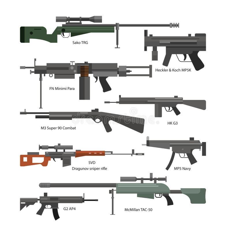 Ensemble de vecteur d'armes de combat d'armée Graphismes d'isolement sur le fond blanc Arme à feu, fusils, mitrailleuse illustration de vecteur