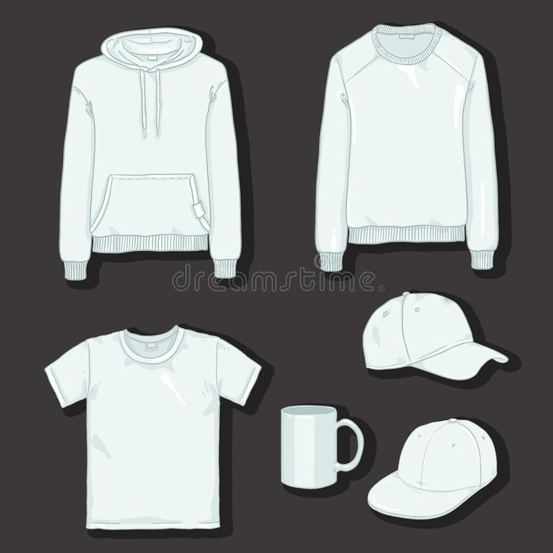 Ensemble de vecteur d'articles blancs pour la copie Vêtements et calibres de tasse illustration libre de droits