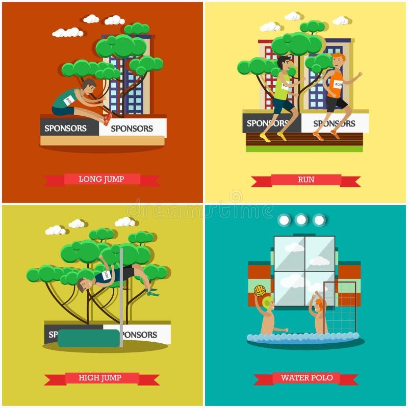 Ensemble de vecteur d'athlétisme léger et d'affiches plates de concept d'aquatics illustration libre de droits