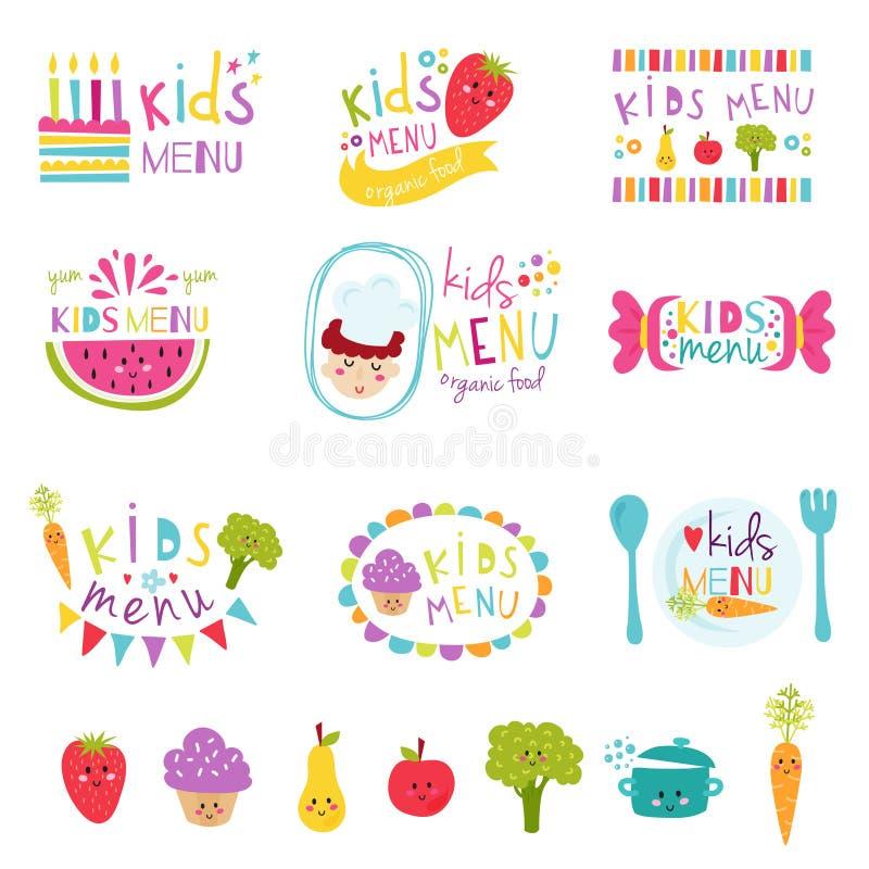 Ensemble de vecteur d'autocollants de menu d'enfants illustration stock