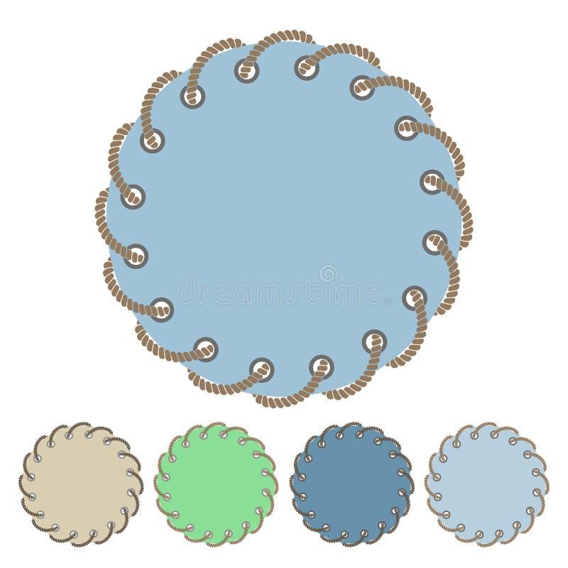 Ensemble de vecteur d'autocollants et de labels ronds avec les trous traversants illustration stock