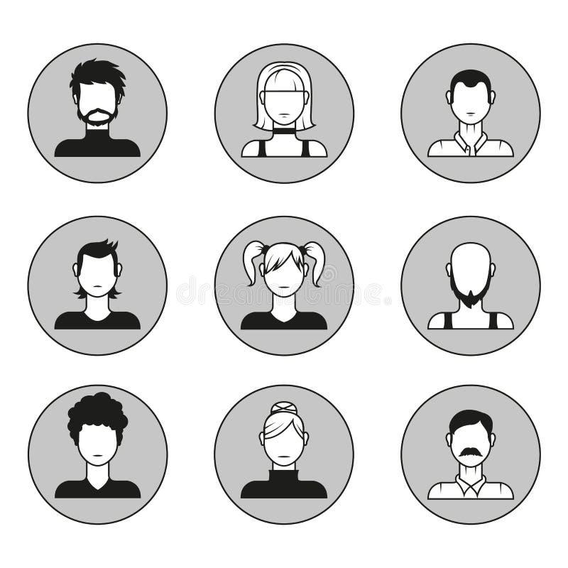 Ensemble de vecteur d'avatars masculins et féminins de visage Éléments de conception, icônes dans le style plat illustration libre de droits