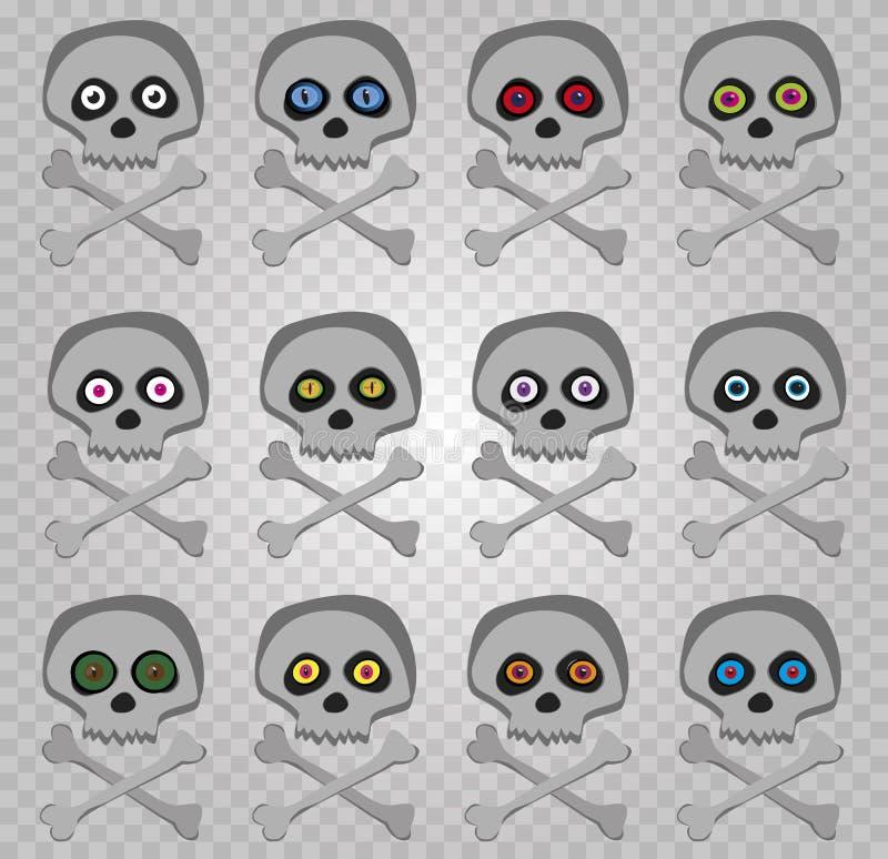 Ensemble de vecteur d'avirons squelettiques de bande dessinée avec les yeux aléatoires colorés multi illustration libre de droits