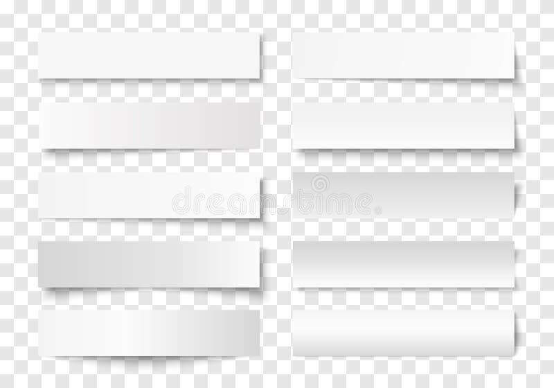 Ensemble de vecteur d'effets d'ombre sur le fond transparent illustration stock
