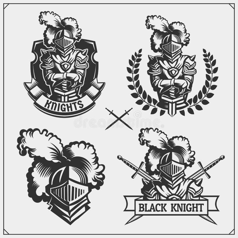 Ensemble de vecteur d'emblèmes médiévaux de chevalier de guerrier, de logos, de labels, d'emblèmes d'insignes, de signes et d'élé illustration stock