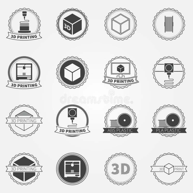 Ensemble de vecteur d'emblèmes ou de logos de l'impression 3d illustration de vecteur