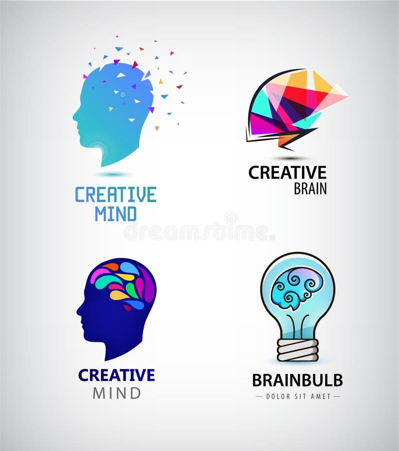 Ensemble de vecteur d'esprit créatif, échange d'idées, logos de cerveau illustration stock