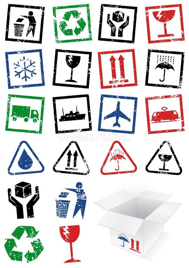 Ensemble de vecteur d'estampilles de symbole d'emballage. illustration stock