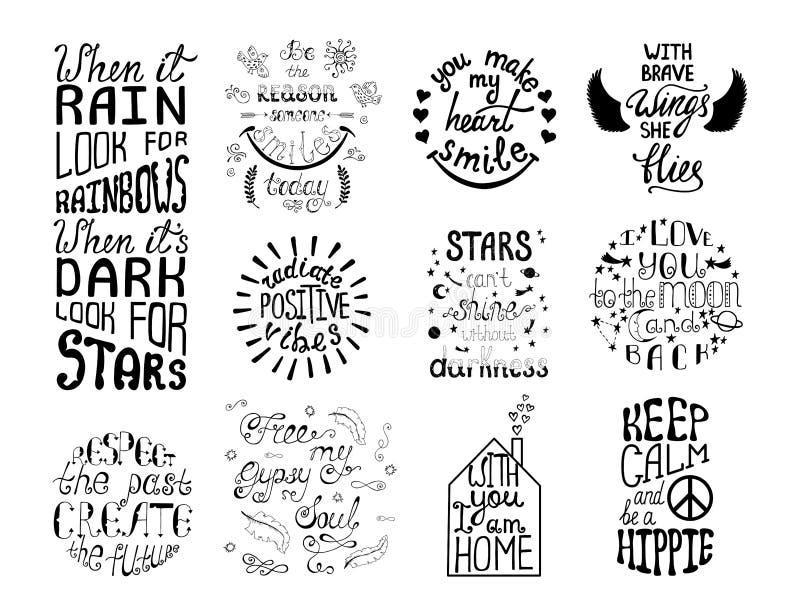 Ensemble de vecteur d'expressions tirées par la main de calligraphie Typograph romantique illustration de vecteur