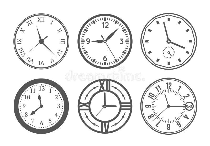 Ensemble de vecteur d'horloge murale illustration de vecteur