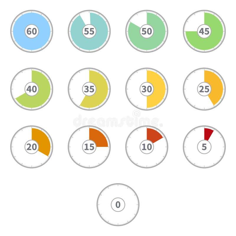 Ensemble de vecteur d'horloges rondes de cadran de couleur plate avec des nombres illustration stock