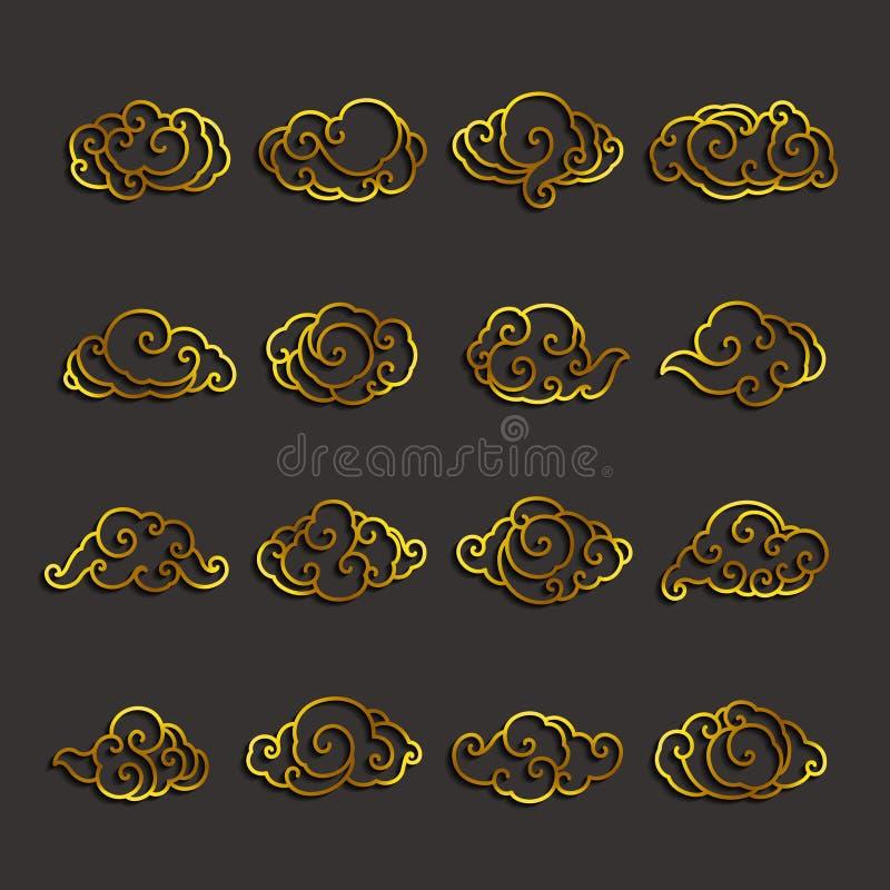 Ensemble de vecteur d'icône de nuages du Japon illustration stock