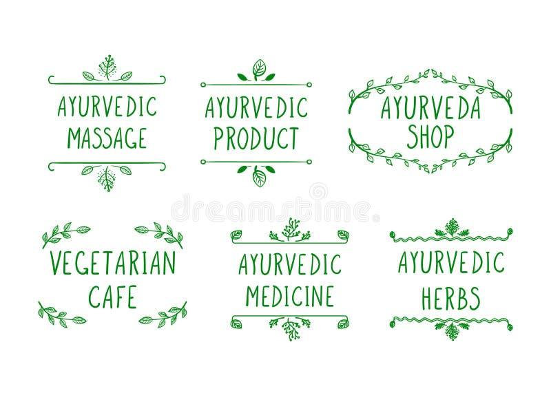 Ensemble de vecteur d'icônes d'Ayurvedic : Boutique d'Ayurveda, herbes, produit, massage, médecine, café végétarien, cadres de gr illustration de vecteur