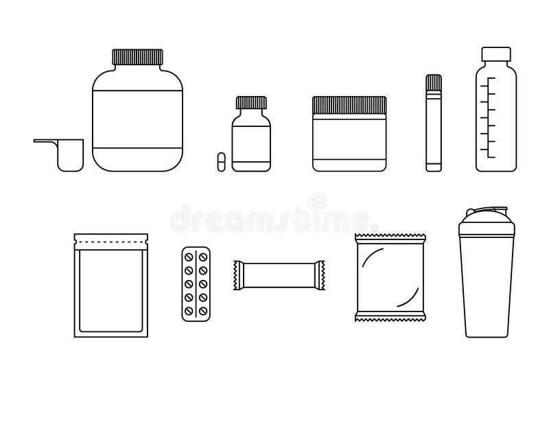 Ensemble de vecteur d'icônes blanc noir de nutrition de sports d'isolement dans le fond illustration de vecteur