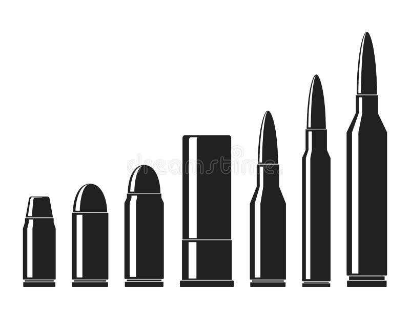 Ensemble de vecteur d'icônes de cartouches Une collection d'icônes de balles d'isolement sur le fond blanc Saisir et taille de mu illustration libre de droits