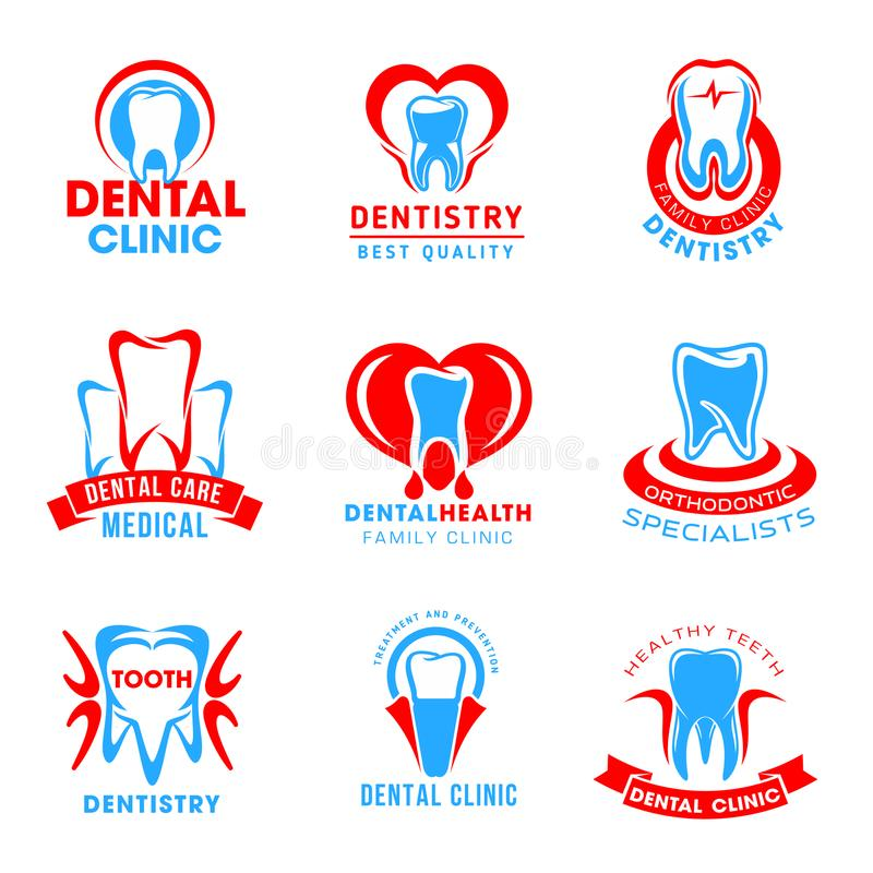 Ensemble de vecteur d'icônes dentaires de clinique illustration de vecteur