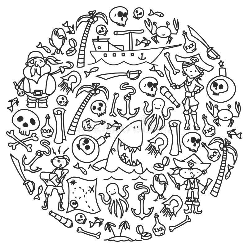 Ensemble de vecteur d'icônes des dessins des enfants de pirates dans le style de griffonnage Monochrome peint et noir, images sur illustration libre de droits