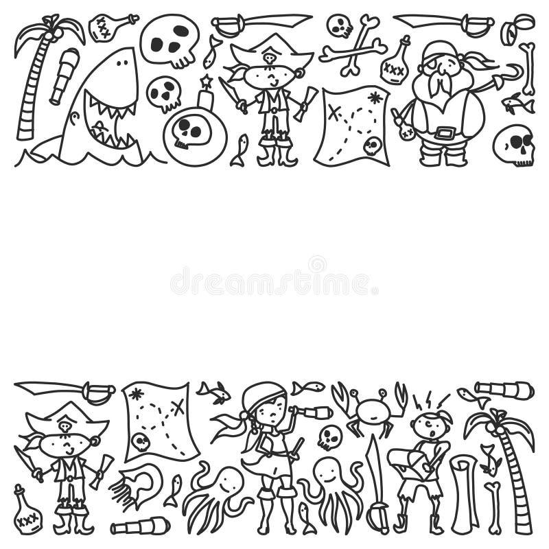 Ensemble de vecteur d'icônes des dessins des enfants de pirates dans le style de griffonnage Monochrome peint et noir, images sur illustration de vecteur
