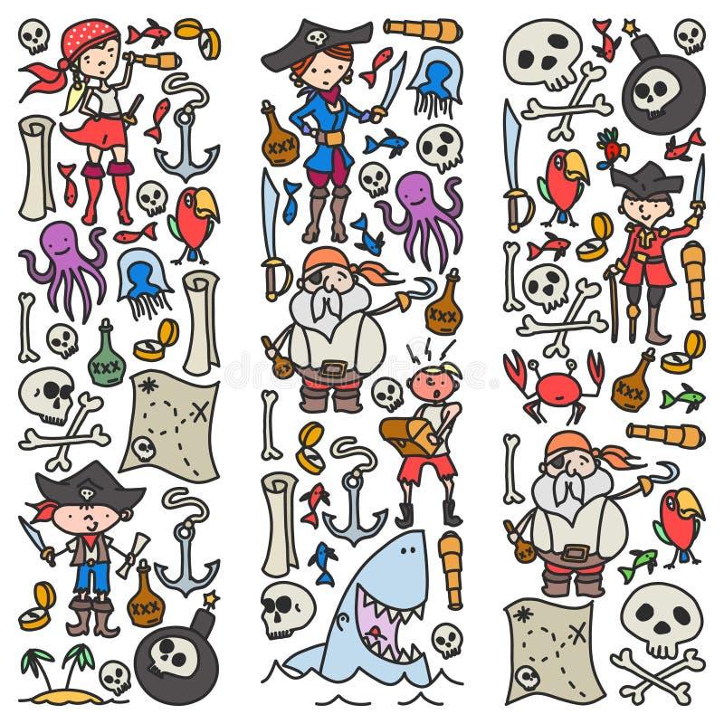 Ensemble de vecteur d'icônes des dessins des enfants de pirates dans le style de griffonnage Peint, coloré, images sur un morceau illustration libre de droits