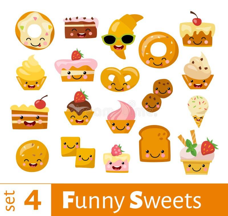 Ensemble de vecteur d'icônes douces de nourriture d'emoji drôle mignon illustration libre de droits