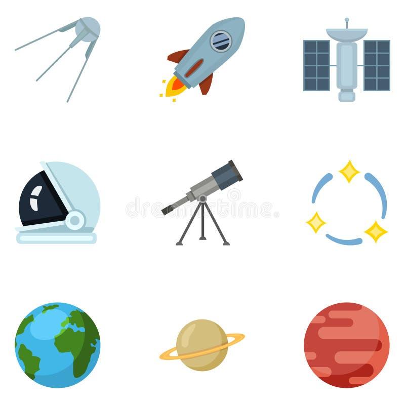 Ensemble de vecteur d'icônes d'espace chromatique Symboles d'astronomie illustration libre de droits