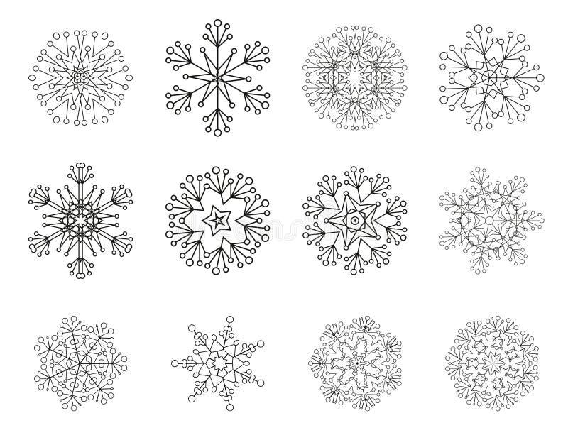 Ensemble de vecteur d'icônes de flocon de neige illustration de vecteur