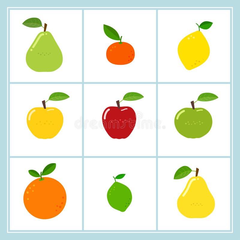 Ensemble de vecteur d'icônes de fruit de bande dessinée d'isolement sur le blanc illustration de vecteur
