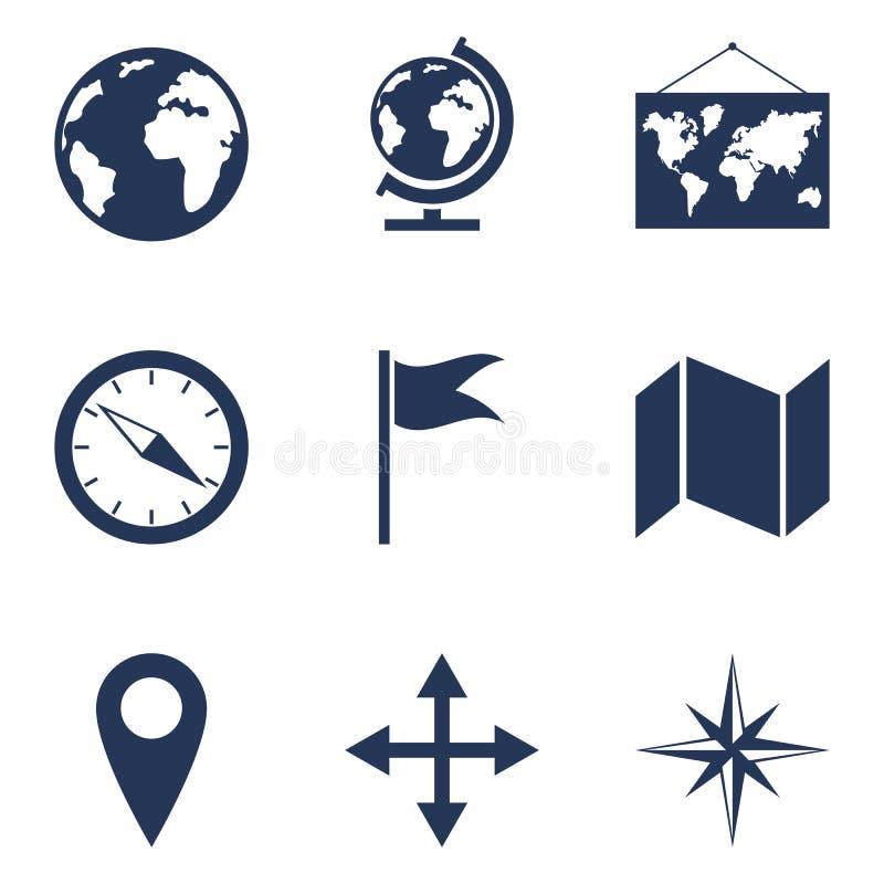 Ensemble de vecteur d'icônes de Geo Pictogrammes géographiques d'école illustration de vecteur
