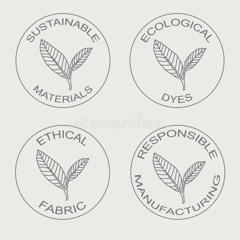 Ensemble de vecteur d'icônes linéaires liées à la fabrication écologique viable de tissu illustration stock