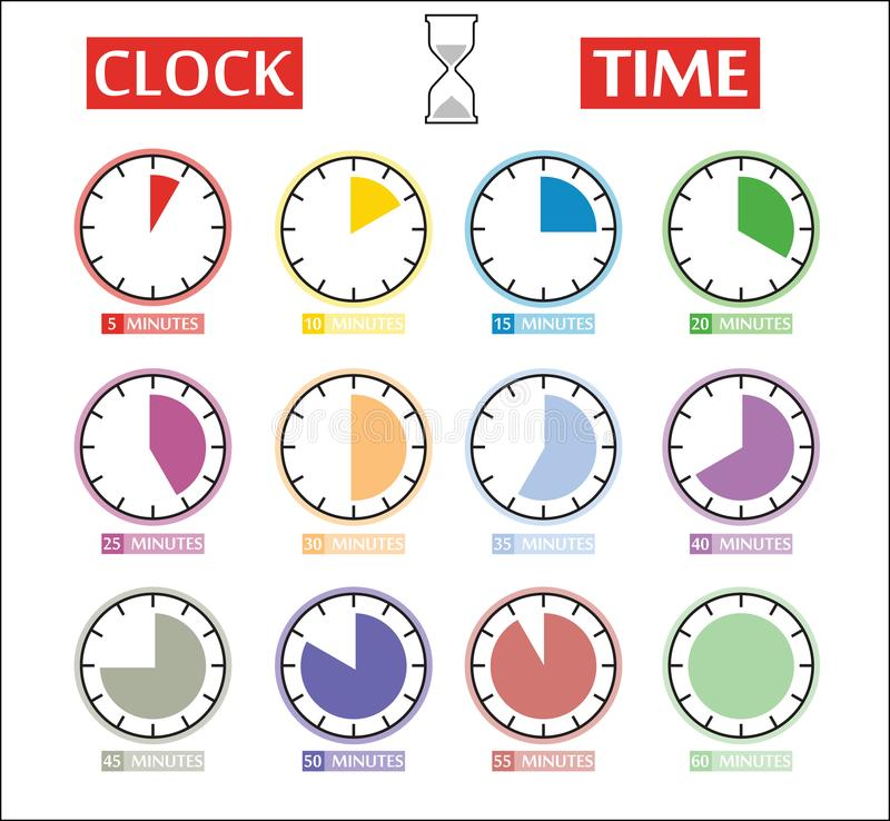 Ensemble de vecteur d'icônes de minuterie Différentes icônes d'intervalle illustration de vecteur