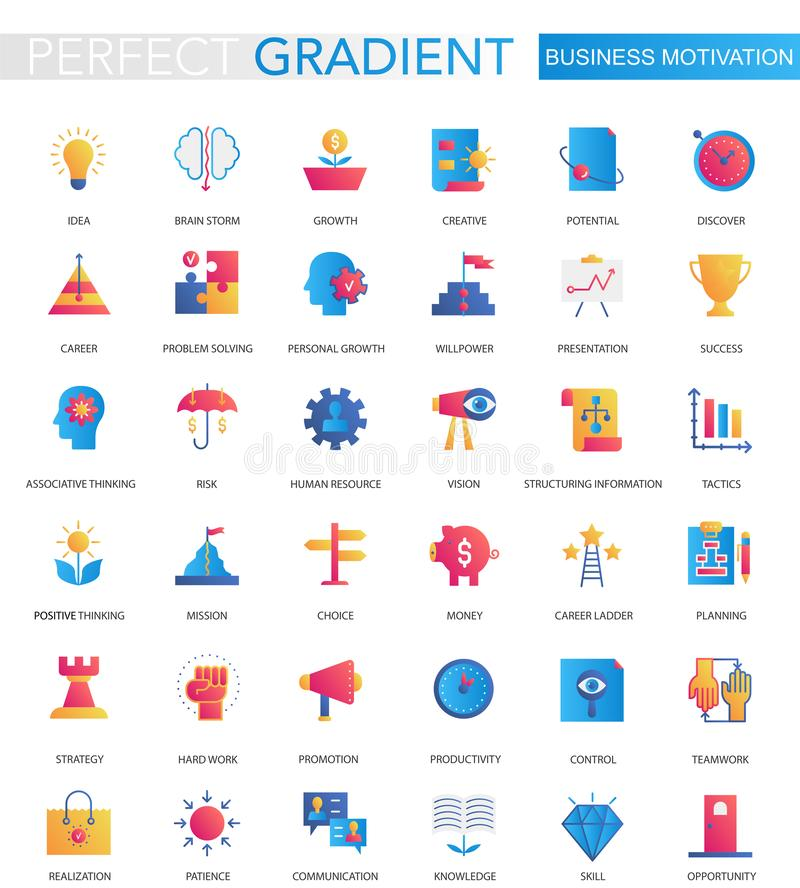 Ensemble de vecteur d'icônes plates à la mode de discipline de motivation d'affaires de gradient illustration stock