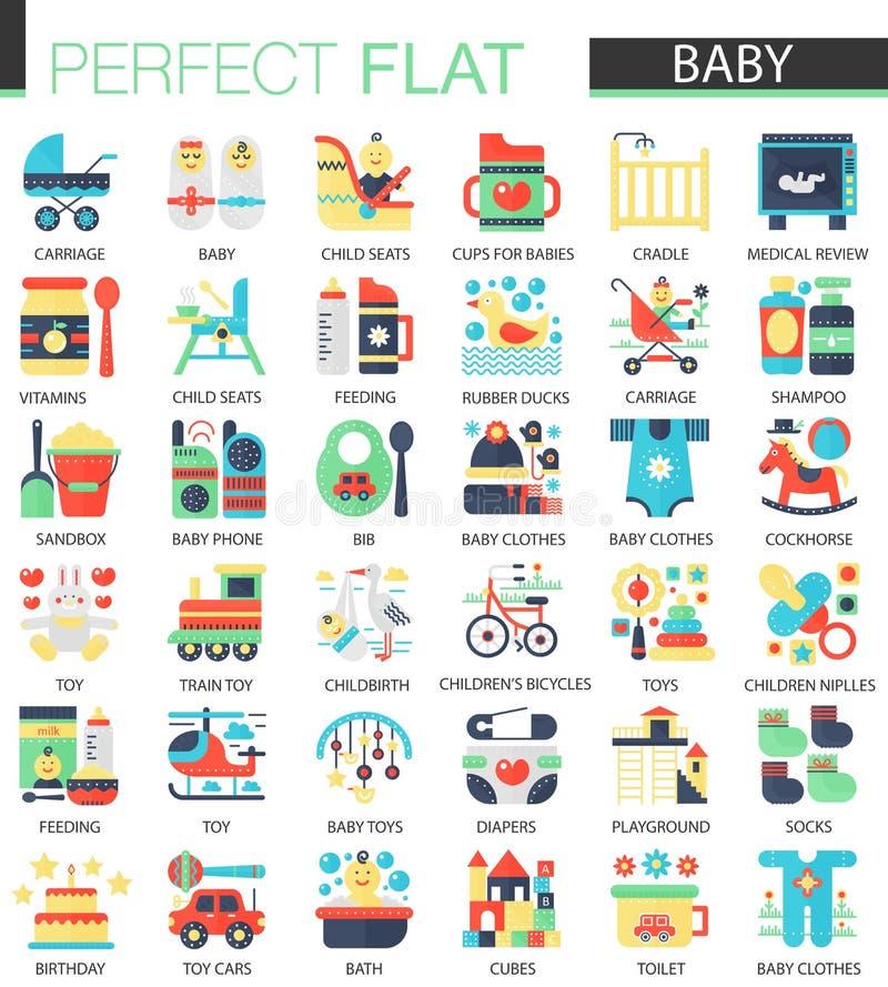 Ensemble de vecteur d'icônes plates d'enfant de bébé illustration de vecteur