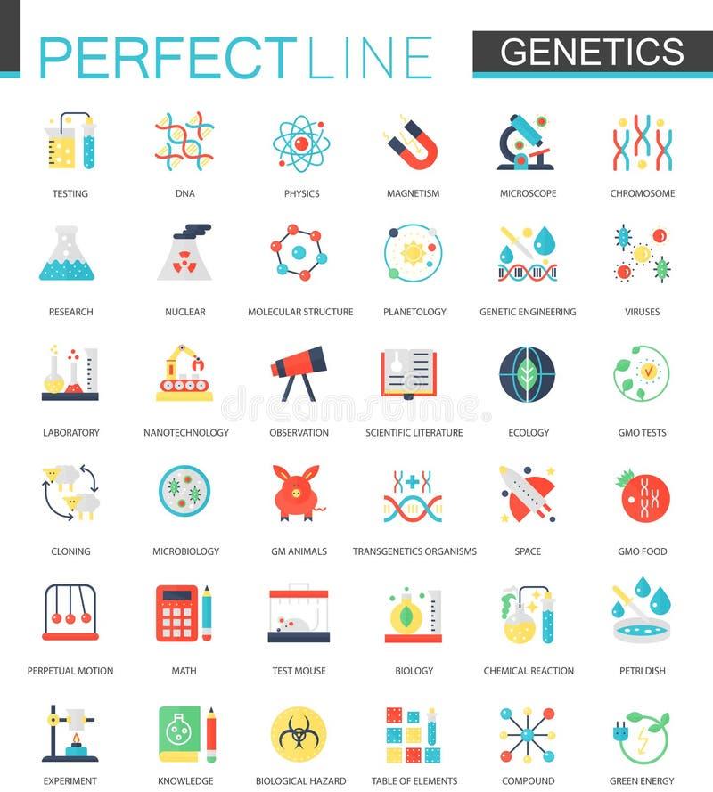 Ensemble de vecteur d'icônes plates de la génétique de biochimie illustration libre de droits