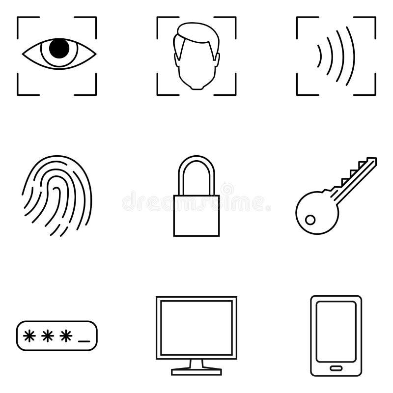 Ensemble de vecteur d'icônes de sécurité de Cyber d'ensemble illustration libre de droits