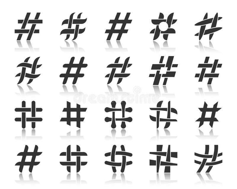 Ensemble de vecteur d'icônes de silhouette de noir de Hashtag illustration stock