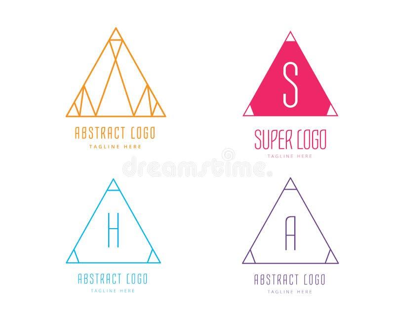 Ensemble de vecteur d'icône de logo de forme de Pyramide triangle illustration libre de droits