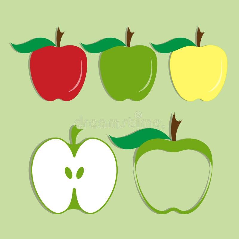 Ensemble de vecteur d'icône de pomme illustration libre de droits