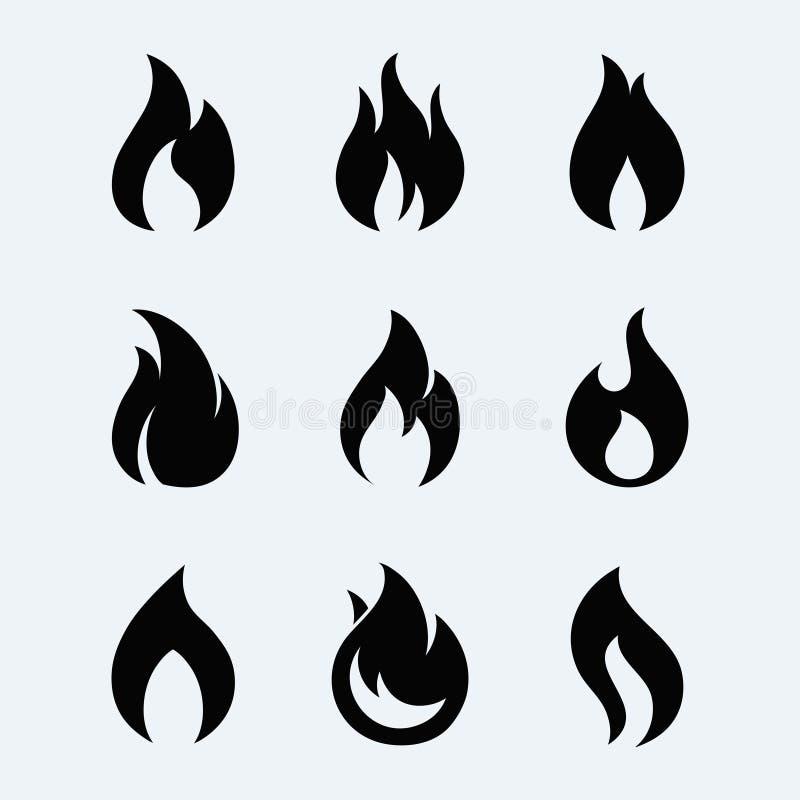 Ensemble de vecteur d'icône du feu illustration stock