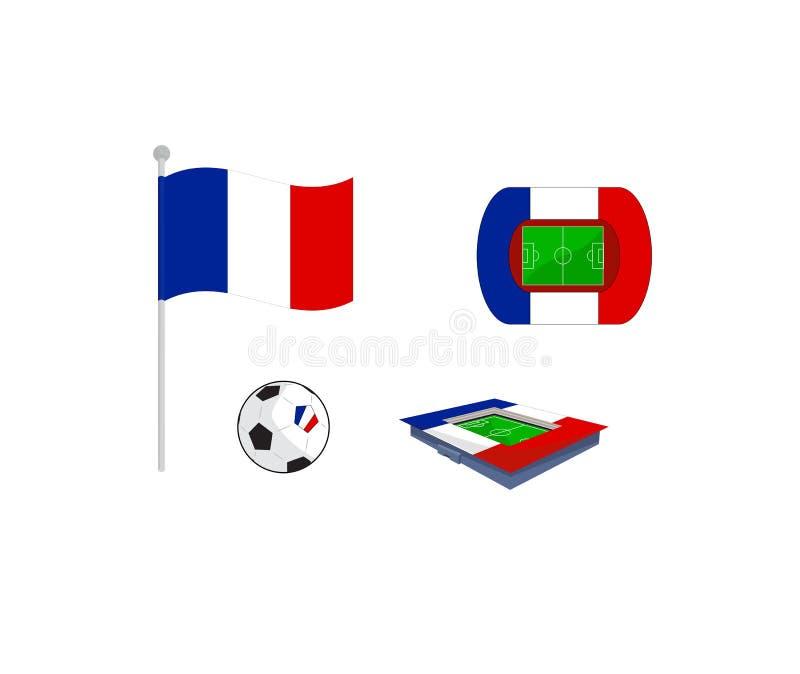 Ensemble de vecteur d'icône pour le championnat du football de l'Europe dans les Frances illustration de vecteur