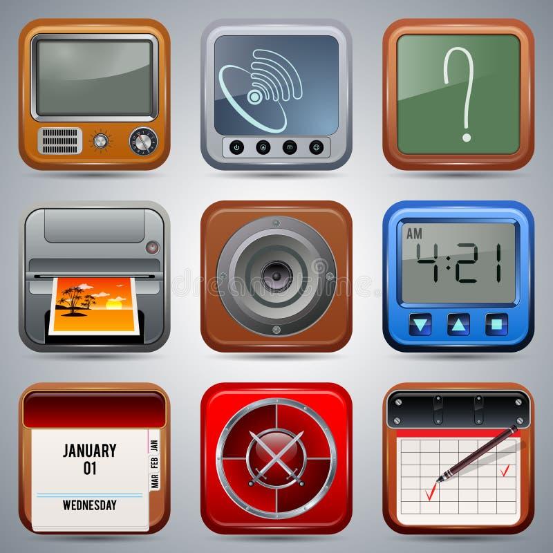 Ensemble de vecteur d'icônes d'application illustration de vecteur
