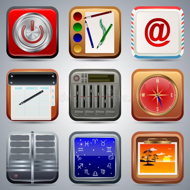 Ensemble de vecteur d'icônes d'application illustration libre de droits