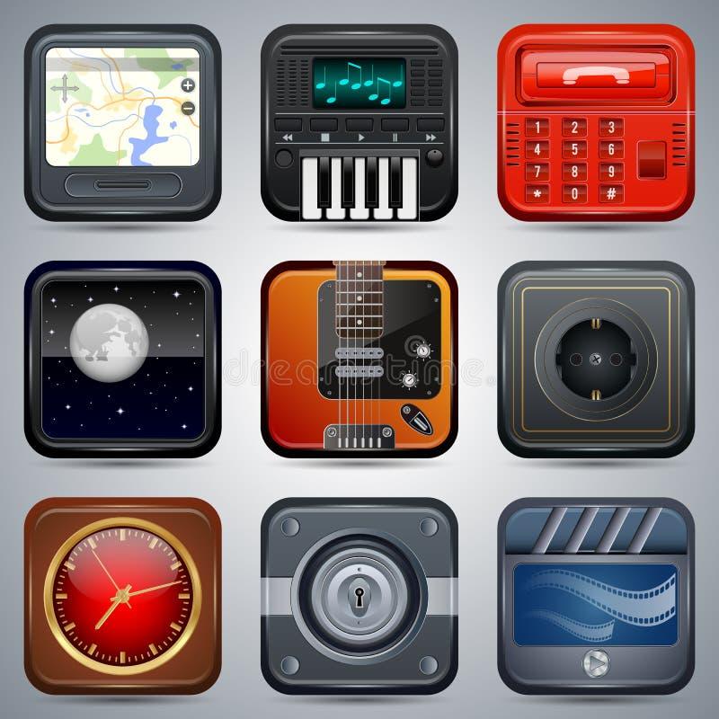 Ensemble de vecteur d'icônes d'application illustration stock