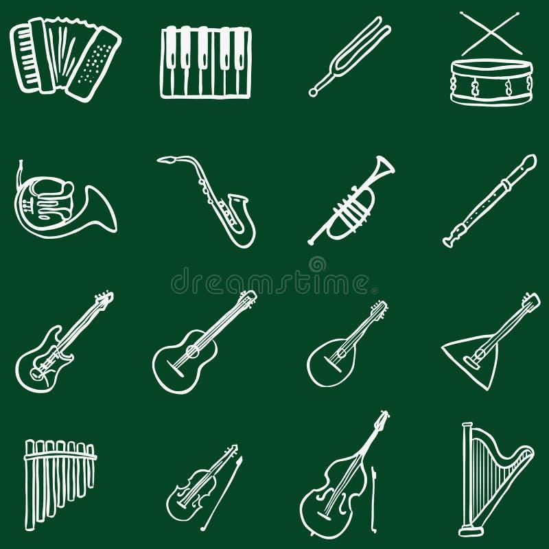 Ensemble de vecteur d'icônes d'instruments de musique de griffonnage de craie illustration stock