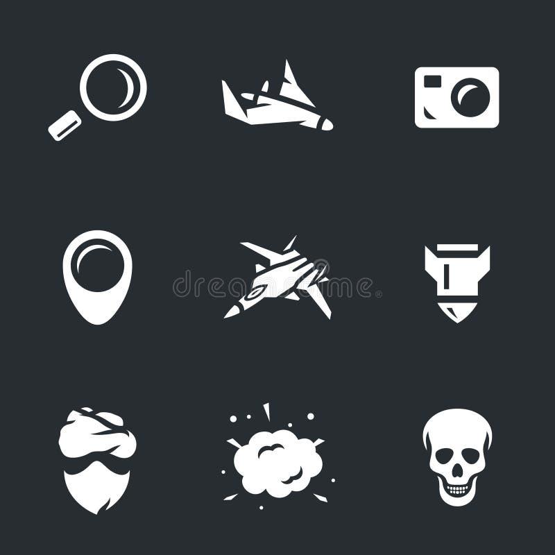 Ensemble de vecteur d'icônes d'intelligence militaire  illustration stock
